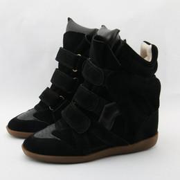 20df5e8e 2019 Cuña de cuero genuino High-top zapatos casuales Aumento de la altura  Señoras Ocultos zapatos de cuña Plataforma Botas de vaquero para las  mujeres Otoño ...