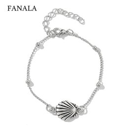 23cm Silver Bracelets Australia - Fashion Beach Cross Hollow Love Conch Fishtail Ball Casual 23cm 9.1inch Bracelet of (5Pcs) Set Silver