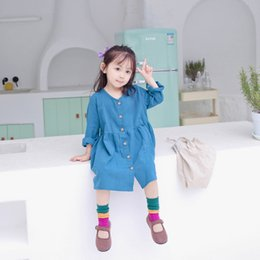 $enCountryForm.capitalKeyWord Australia - WNLEIGEL Girls autumn spring princess dresses kids solid pink blue cotton linen dress baby all match party clothes children 1-6T