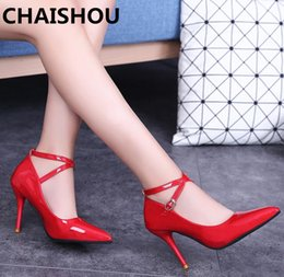 $enCountryForm.capitalKeyWord NZ - Dress Shoes Chaishou 2019 New 9.5cm High Heels Women Fashion Leatherfemale Stiletto Pointed Wedding Ankle Straps Pumps B-73