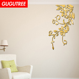 crystal sticker decals Australia - Decorate Home 3D flower leaf cartoon mirror art wall sticker decoration Decals mural painting Removable Decor Wallpaper G-421