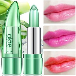 Red lip balm online shopping - 120 DHL Aloe Vera Lipstick Long Lasting Temperature Change Color Red Lip Stick Balm Transparent Magic Jelly Waterproof Lipsticks