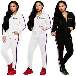 woman white coats outfit 2019 - brand Designer women tracksuit 2 pieces outfits sweatshirt leggings winter clothes champion sportswear pants jacket coat