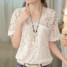 $enCountryForm.capitalKeyWord NZ - blusas mujer de moda 2019 new sexy hollow lace blouse shirt womens tops and blouses v collar short sleeve white women shirts B41