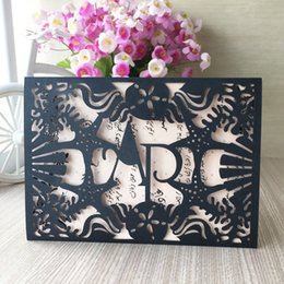 Invitations Themes Australia - 100pcs   lot Hollow Laser Cut Wedding Invitations Cards Envelope Sea Theme Birthday Party Invitations Valentine's Day Gifts Cards