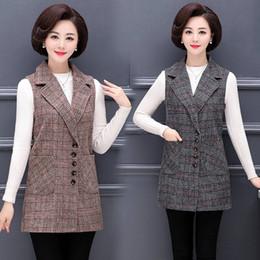 $enCountryForm.capitalKeyWord Australia - Large size clothing for women Autumn Winter Middle age clothing New women's vests lattice Woolen vest Elegant Ladies blazer 975