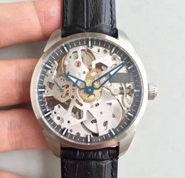 Watches complications online shopping - baodewatches offer T Complication Squelette Watch Stainless Steel Skeleton Dial With Black Leather Strap Mechanical Manual Winding watch