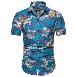Shirts Flower For Man Australia - Floral Shirt Men Short sleeve Casual Social Shirt for Man Flower Blouse Men Hawaiian clothing Summer