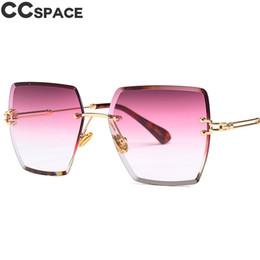 Gradient Color Sunglasses Australia - Luxury Rimless Square Sunglasses Men Women Shades Gradient Color Red Purple 46421 Vintage Brand Glasses Fashion UV400