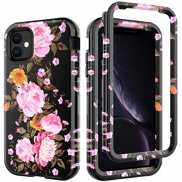 rubber flowers NZ - for iPhone 11 Pro Max hybrid layer robot 360 full protective rubber rugged floral flower defender heavy duty case cover skin