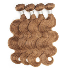 peruvian human hair china 2020 - #30 Light Golden Brown Brazilian Body Wave Human Hair Bundles 3 4 Bundles 16-24 Inch Remy Human Hair Extensions China Wh