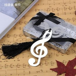 tassel wholesale bookmarks NZ - Music notation Bookmarks with black tassels Metal For wedding favor Baby Shower wedding party gifts + DHL Free Shipping