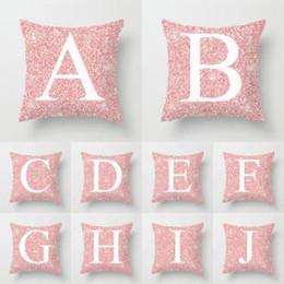Valentine pillow case online shopping - 26 Letters Pillow Case sequin Cushion pillow Cover Pillowslip Bedding decor valentines gift Sofa Home car Decor cm FFA1579