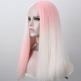high temperature silk wig Canada - Anxin 2020 New Wave Curly Hair and Straight Hair Stitching Color Wig High Temperature Silk Synthetic Wig Anime Cosplay Party