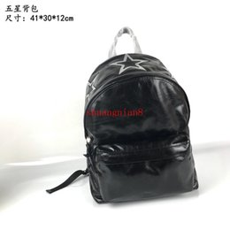 China Men's Backpack Black Silver Leather Double Carpool Five Stars Tide Fashion New off-w1615 cheap off button suppliers