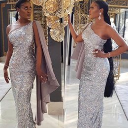 $enCountryForm.capitalKeyWord Australia - Prom Dresses Long Trumpet Mermaid Floor Length For Women One Shoulder Silver sequins Special Occasion Formal Evening Gown