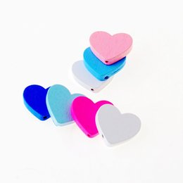 Wood Crafts For Kids UK - spacer Free Shipping 20pcs Wooden Lovely Heart Styles Spacer Beading Wood Beads Toys For Baby DIY Crafts Kids Toys 21x24mm