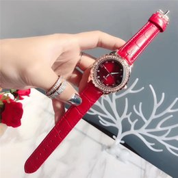 Cheap rhinestone watCh online shopping - Red blue leather fashion casual watch luxury quartz rhinestone dress ladies watch high quality cheap simple clock women Women s Watches