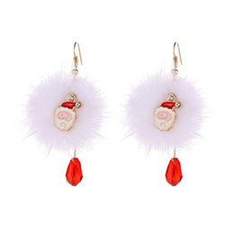 Wholesale Hairball Earrings Metal Bijoux Simple Sika Deer Plush Ball Drop Earring For Women Jewelry Christmas Earings