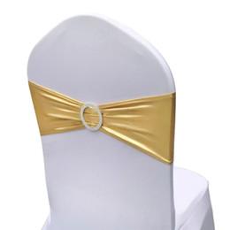 Venta al por mayor de paquete de 50 Fajas de la silla del estiramiento para la boda Incluso Banda elástica de la silla del partido Banda de la silla del estiramiento de Lycra con hebilla para el evento