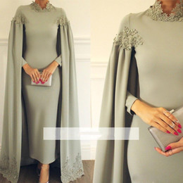 Discount cape ankle length dress - Custom Made Ankle Length Muslim Evening Dresses High Neck Long Sleeve With Cape Formal Gown Appliques with Bead Evening