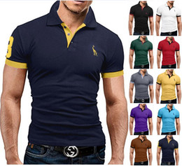 casual polos designs 2019 - Men's Polos Shirts Summer large size multi-color deer t-shirt fashion men's casual Fitted Design short-sleeved
