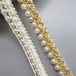 $enCountryForm.capitalKeyWord NZ - 1 Yard Pearl Beads Golden Thread Lace Edge Trim Ribbon Wedding Bridal Dress Trimmings Sewing Supplies Craft DIY Clothes Bag Shoes Decor