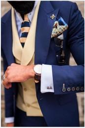 navy blue skinny suit 2019 - 2019 Latest Coat Pant Designs Navy Blue Men Suit Groom Tuxedo Slim Fit Style Suits Custom Prom Blazer Terno Masculino 3