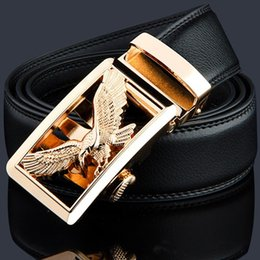 metal eagle Australia - KWD Luxury Gold Eagle Metal Automatic Buckle Waist Belt Designer Belts Men's High Quality Cow Genuine Leather Kemer for Jeans