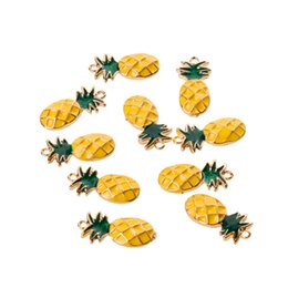 fruit bracelets UK - 10Pcs Novelty Chic Pineapple Fruit Shape Charms Pendants Bracelet DIY Jewelry Summer Beach Decor
