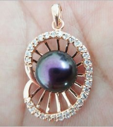 Discount black south sea pearl necklaces - HUGE 12MM NATURAL SOUTH SEA GENUINE BLACK PEARL ROSE GOLD PENDANT NECKLACE