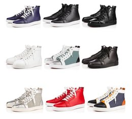 $enCountryForm.capitalKeyWord Canada - Popular Genuine Leather Sneakers Flat For Women,Men High Top Red Bottom Shoes Fashion Luxury Designer Casual Outdoor Trainers With Box