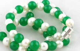 pearl green NZ - necklace Hot sale Free Shipping>>>Genuine White Pearl Green Jade 18KWGP Clasp Necklace