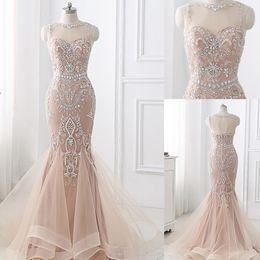 Beaded Designs Australia - Jewel Tulle Neckline Light Champagne Beaded Applique New Design Long Mermaid Evening Dress Sweep Train Prom Party Dress