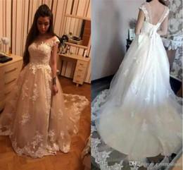 Vintage Dress For Muslim Australia - Luxury Lace A Line Wedding Dresses Off Shoulder Capped Sleeves For Arab Bride Custom Bridal Dress Muslim Wedding Gowns