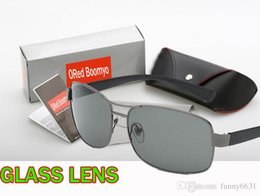 Wholesale Sun Glasses Box Australia - summer men METAL Sunglasses man cycling glasses women Bicycle Glass driving Sun glasses with case box 4colors GLASS LENS free shipping