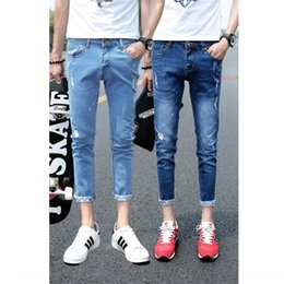 color matching light NZ - g7vu9 Thin Nine nine Jeans ankle-length pants fashion brand nine-point jeans men's slim feet light color fashion hole nine-point all-match p