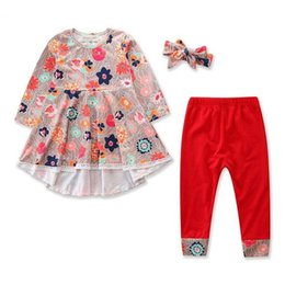 Baby Pant Coat Dress Australia - Baby Girls Clothes Kids Fashion mixed color Dress + Red Pants With Headband 3-Pc Children Clothing Sets 1-5Y