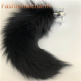 fur plug NZ - Black -Genuine Real Fox Fur Tail Plug Metal Stainless Butt Toy Plug Insert Anal Sexy Stopper