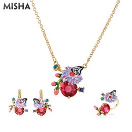 silver butterfly necklace earring set UK - MISHA Trendy Jewelry Sets For Wome Rings Pendants Enamel Glaze Butterfly Necklace Simulation Gems Chic Earrings Wedding Sets 730