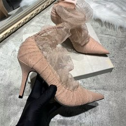 Pink Lace Shoes NZ - 2019 brand fashion luxury designer women shoes high heels brand fashion luxury designer women shoes pink lace high Heels women dress shoes