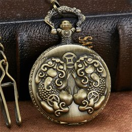 Unique Wholesale Analog Watches Australia - Retro Bronze Wealth Lucky Symbol Toad Pocket Watch With FOB Chain Unique Steampunk Fashion Quartz Pocket Watch reloj de bolsillo