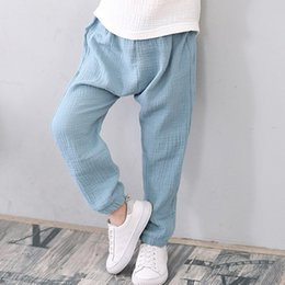 $enCountryForm.capitalKeyWord NZ - 2-7 Yrs Linen Pleated 2019 Baby Boys Girls Summer Cotton Harem Baggy Pants Kids Clothes Children Sweatpants Trousers Breathable