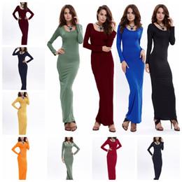 ba4e44edfb Moda Color sólido Casual Manga larga Cuello redondo Vestido elegante Falda  S