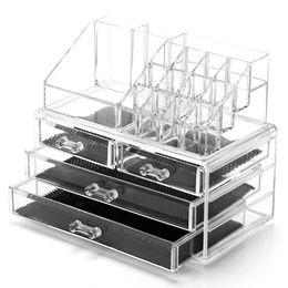 Big Storage Boxes Australia - Clear Desk Storage Boxes Acrylic Makeup Organization Big Capacity Cosmetic Storage Boxes Cases Desk Makeup Jewelry Organization