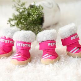 f3e7f7948d3 Deportivo Invierno Mascotas Perros Zapatos 4 unids / set Botas de Perro  Pequeño Algodón Antideslizante XS XL Para Cachorros Animal Gato Chihuahua  Yorkshire ...