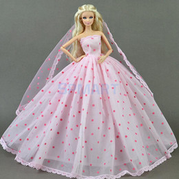 0662b8c2ce Encantador vestido de 3 capas de vestido de velo para Barbie para DOD  Dollfie 1 6 BJD Muñeca   Traje de fiesta