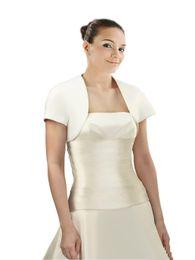 $enCountryForm.capitalKeyWord Australia - Gowns Plus size 2019 Free Shipping Cheap Wedding Bridal Jackets Short sleeves Satin Simple Designer Wedding Wrap For Wedding Dress Bridal A