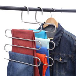 $enCountryForm.capitalKeyWord Australia - S-type Multi-function Pants Hanger 5 Layers Hanging Clothing Hanger Stainless Steel Hanging Rack Multilayer Closet Storage