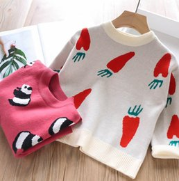 $enCountryForm.capitalKeyWord Australia - 2019 Autumn girls sweater kids panda carrots pattern knitted pullover children soft sweater jumper children cartoon clothing F8487
